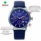 2018 Mens Watches NORTH Brand Luxury Casual Military Quartz Sports Wristwatch Leather Strap Male Clock watch relogio masculino - Free Wear USA