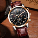 2018 LIGE Mens Watches Top Brand Luxury Leather Quartz Watch Men Military Sport waterproof Gold Watch Clock Relogio Masculino - Free Wear USA