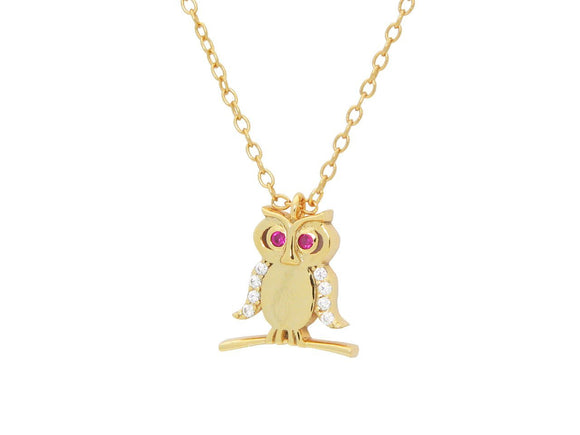Teen Red Cz Owl Pendant Necklace in 18K Gold Plated Silver  16