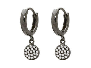 Gunmetal Black Cubic Zirconia Disc Dangling Huggie Earrings in Sterling Silver - Free Wear USA