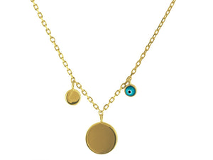 "Mikonos Engravable Gold Disc & Evil Eye Sterling Silver Chain Necklace, 15"" Long + 2"" Extender - Free Wear USA"