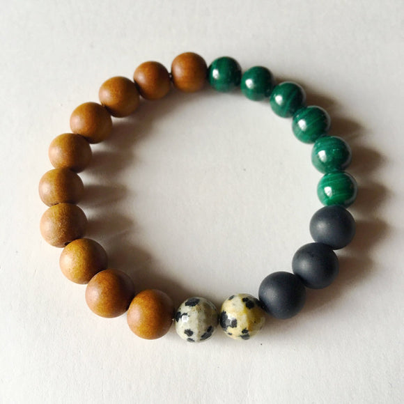 Wealth and Protection Bracelet ~ Malachite, Matte Black Onyx, Dalmatian Jasper & Sandalwood - Free Wear USA