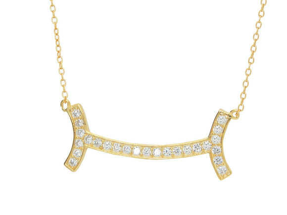 Fine Gold Plated Sterling Silver Diamond Studded Curved Smile Bar Necklace for Women,16