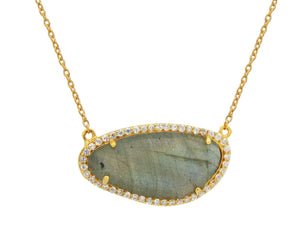 "Gold Plated Sterling Silver Natural Labradorite Slice Pendant Necklace, 16"" - Free Wear USA"