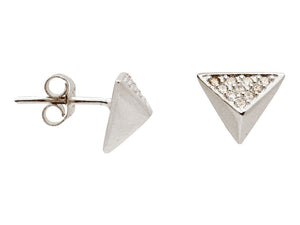 Silver Rhodium Plated Triangle Pyramid Stud Earings Cz Side .9mm - Free Wear USA