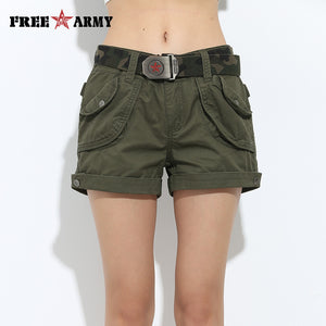 Brand Laides Shorts Women Casual Shorts Loose Pockets Zipper Military Army Green Large Summer Ladies Shorts Outdoors Plus Size - Free Wear USA