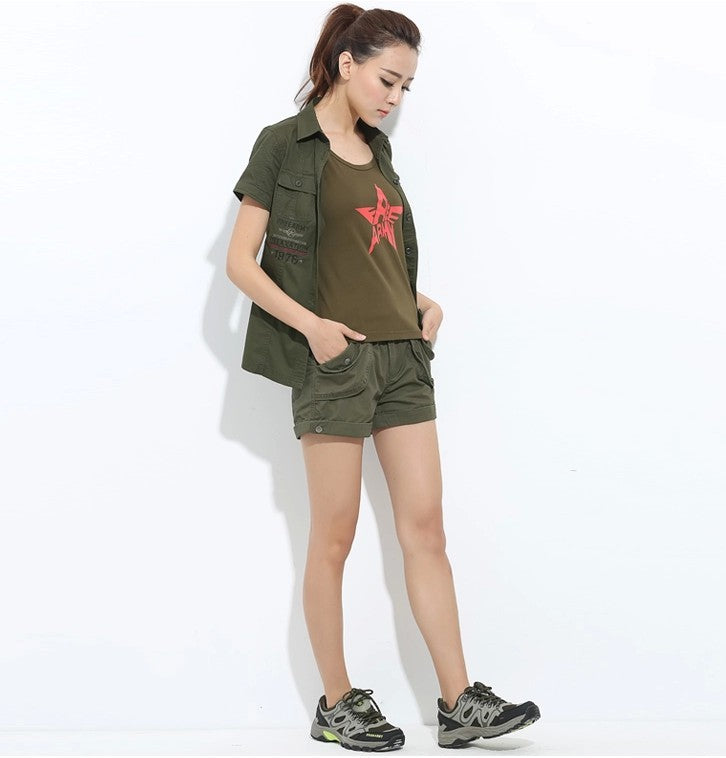 f4c57adcb5de ... Brand Laides Shorts Women Casual Shorts Loose Pockets Zipper Military  Army Green Large Summer Ladies Shorts ...