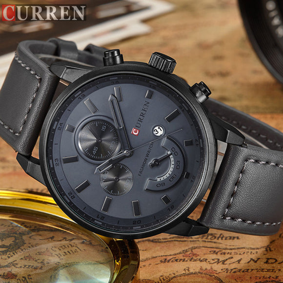 CURREN Relogio Masculino Mens Watches Top Brand Luxury Leather Fashion Casual Sport Clock Quartz Watch Men Military Wristwatches - Free Wear USA