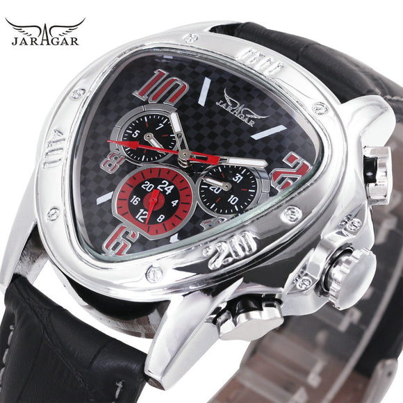 Fashion Luxury Men Automatic Mechanical Wrist Watches Top Brand WINNER Triangle Men's Watches 3 Sub-dials 6 Hands reloj hombre - Free Wear USA