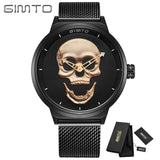 GIMTO Cool Skull Men Watch Luxury Brand Quartz Creative Clock Steel Black Military Female Male Wrist Watches relogio masculino - Free Wear USA