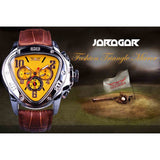 Jaragar Sport Fashion Design Geometric Triangle Case Brown Leather Strap 3 Dial Men Watch Top Brand Luxury Automatic Watch Clock - Free Wear USA