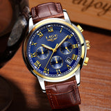 LIGE Fashion Sport Mens Watches Top Brand Luxury Gold Quartz Watch Men Leather Waterproof Military Wrist Watch Relogio Masculino