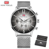 MINIFOCUS Top Brand Fashion Luxury Men Watch Stainless Steel Mesh Strap Wristwatch Ultrathin Quartz Clock For Male Orologio Uomo