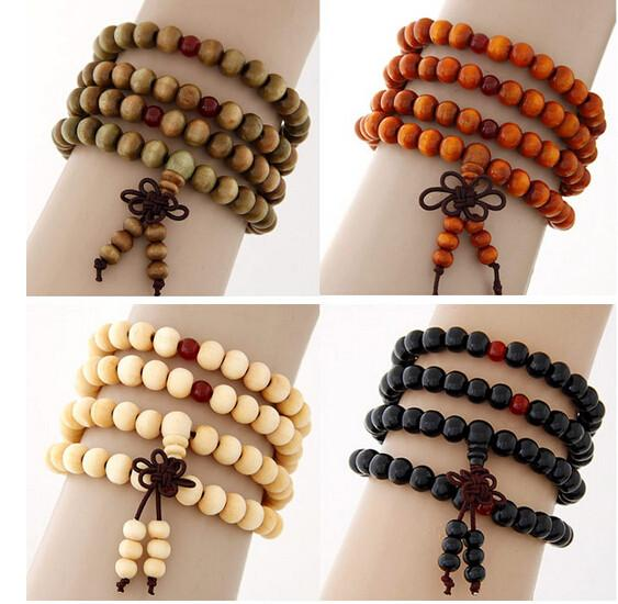 Fashion Natural Ebony Black Wood Beads Buddha Multlayer Bracelets Men- Women - Free Wear USA
