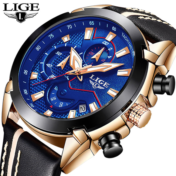 2018  Men's Lige Top Brand Luxury Quartz Leather Waterproof Watch - Free Wear USA
