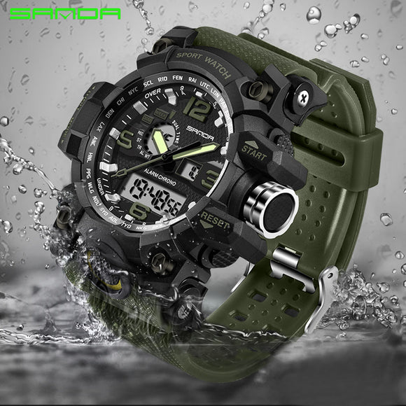 SANDA military watch waterproof sports watches men's LED digital watch top brand luxury clock camping diving relogio masculino