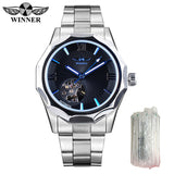 Winner Blue Ocean Geometry Design Transparent Skeleton Dial Mens Watch Top Brand Luxury Automatic Fashion Mechanical Watch Clock