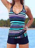 Women's Stripes X Back Tankini Swimwear Two Pieces Swimsuit Set Bathing Suit Bodysuit Plus size 4XL