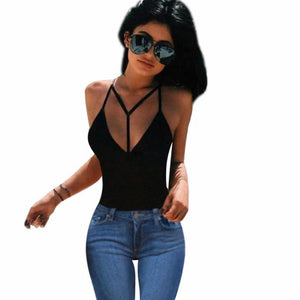 Women Sexy Black Harness Bra Crop Bustier Bralette Corset Tops Tank Top Cotton Bandage Blouse #LSN - Free Wear USA
