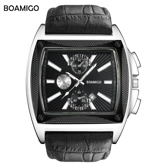 BOAMIGO brand men quartz watches big dial luxury stlye wrist watch black leather strap auto date gift clock relogio masculino - Free Wear USA