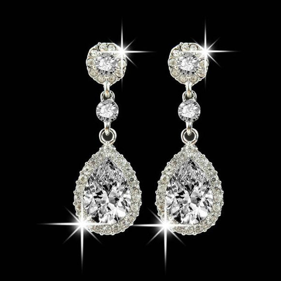 Wedding Jewelry Rhinestone Style Wedding Earrings For Women Blue - Free Wear USA