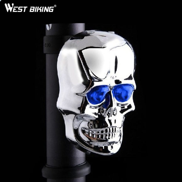 WEST BIKING Mountain Bike Rear Light New Silver Skull  Laser Rear Tail Light 2LED 7 Modes Lamp Flash Cycling Bike Bicycle Light - Free Wear USA
