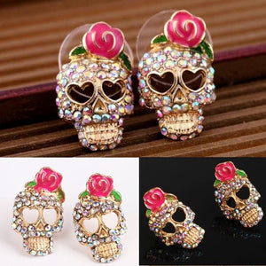 Cute Pink Rose Rhinestone Skeleton Skull Ear Studs Earrings Jewelry - Free Wear USA