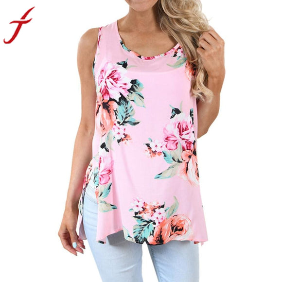 Floral Printing Top 2017 Summer Women Casual Sleeveless Streetstyle Shirt Blusa Lycra cotton split Cami Top Shirt S~5XL - Free Wear USA