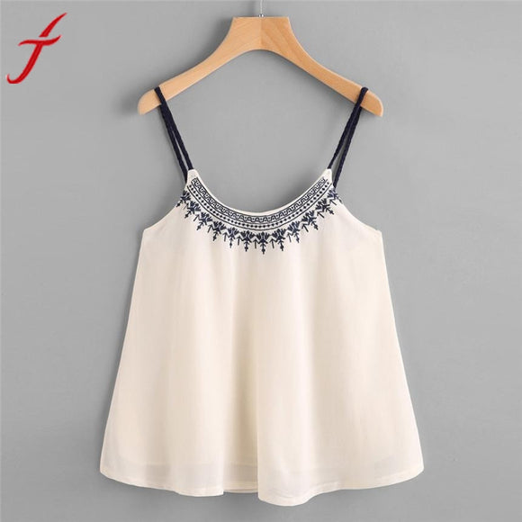 2017 Summer New Embroidery Camis Women Casual Sleeveless Loose Crop Top Vest Tank Shirt Cami Top Female Vest - Free Wear USA