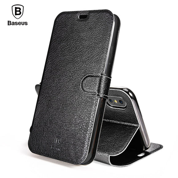 Baseus For iPhone X Case Luxury Elegant Flip Leather Wallet Case For iPhone X Full Protective Leather Kickstand Phone Cover Capa - Free Wear USA