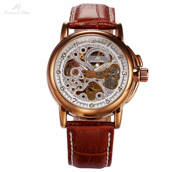 Luxury KS Golden Stainless Steel Case Skeleton Dial Men Automatic Mechanical Brown Leather Strap Wrist Men's Dress Watch / KS037