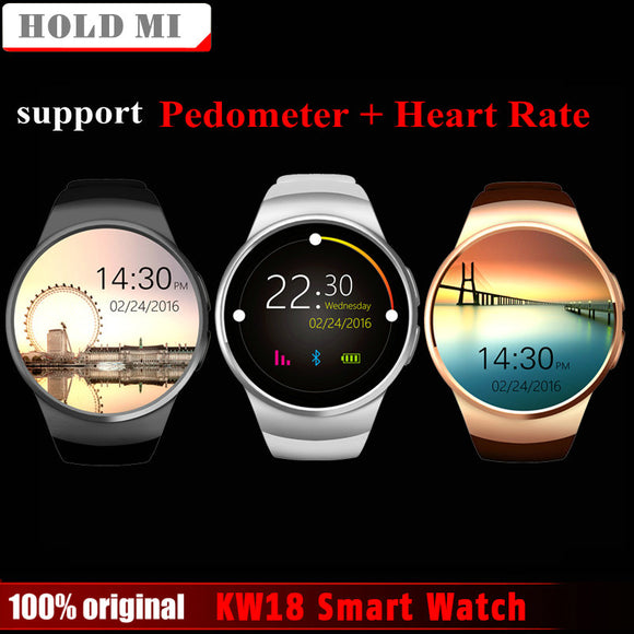Free Shipping Hold Mi KW18 Smart Watch Support SIM TF Card Heart Rate Monitor MTK2502 Smartwatch for Android IOS Phone with Box - Free Wear USA
