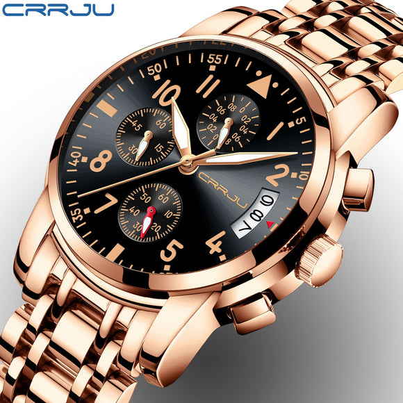 Men's CRRJU Top Luxury Rose Gold Quartz  Full Steel Waterproof  Watch