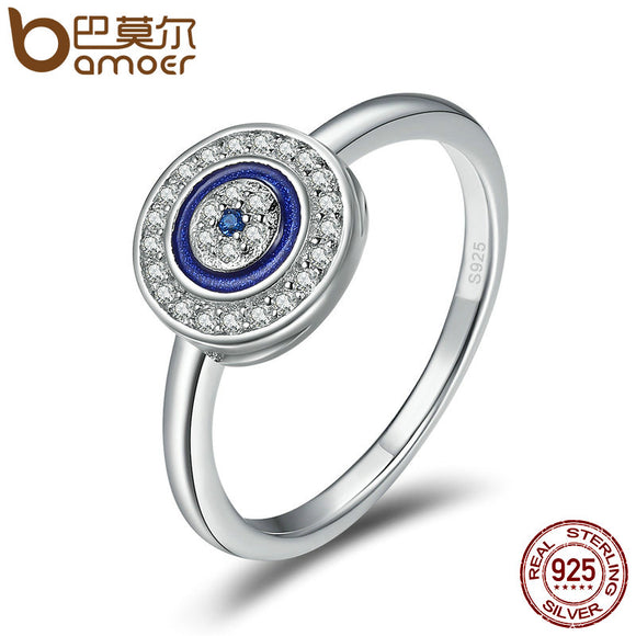 BAMOER Authentic 100% 925 Sterling Silver Lucky Blue Eyes Women Finger Ring Wedding & Engagement Jewelry Ring SCR208 - Free Wear USA