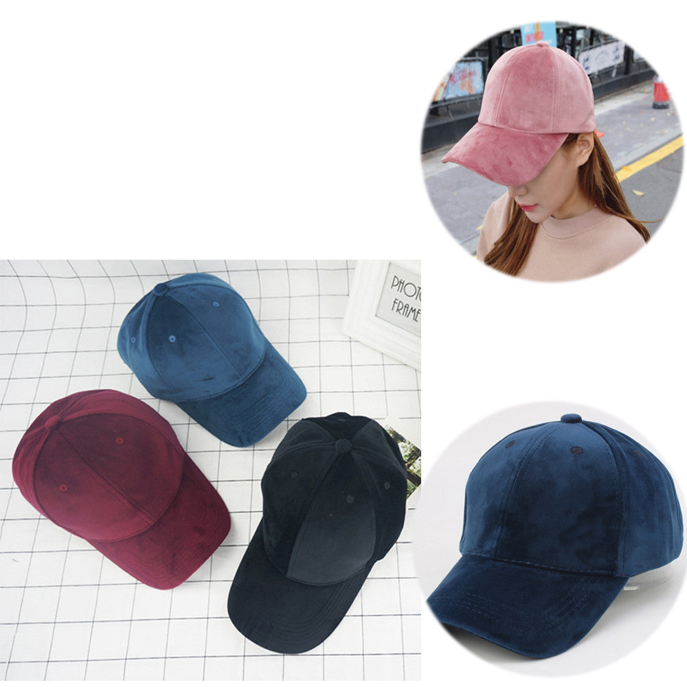 86a6df222 Unisex Soft Velvet Baseball Cap Solid Adjustable Sports Hat Plain Hat