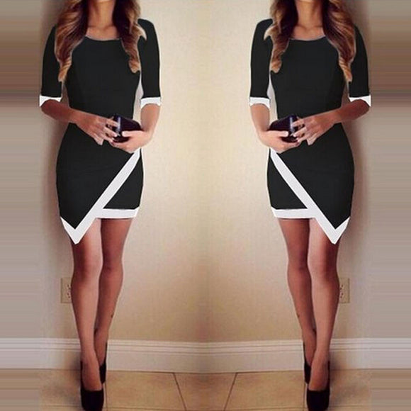 Sexy Women Summer Bandage Bodycon Evening Party Irregular Mini Dress BK/S - Free Wear USA