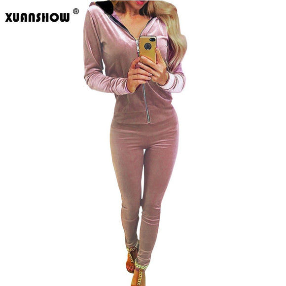 Women's Smooth Touch  2 Piece Hoodie Tracksuit Set