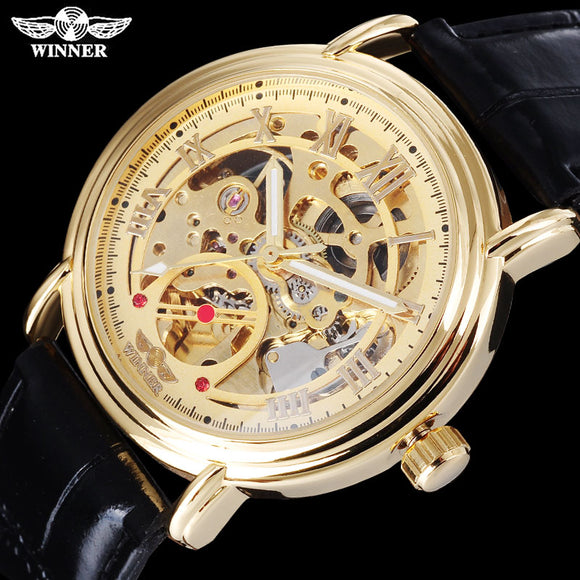 TWINNER fashion sport men mechanical watches leather strap casual brand men's automatic skeleton gold wristwatches reloj hombre