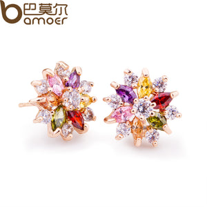 BAMOER   Gold Color Gold Star Stud Earrings with Multicolor Zircon Stone For Women Birthday Gift Jewelry JIE018 - Free Wear USA