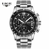 LIGE Waterproof Casual Sport Watch Men Military Quartz Watch Mens Watches Top Brand Luxury Date Leather Clock Relogio Masculino