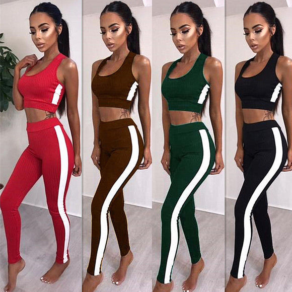 Ultra Flex Crop Tank Top + Pants 2Pcs Set