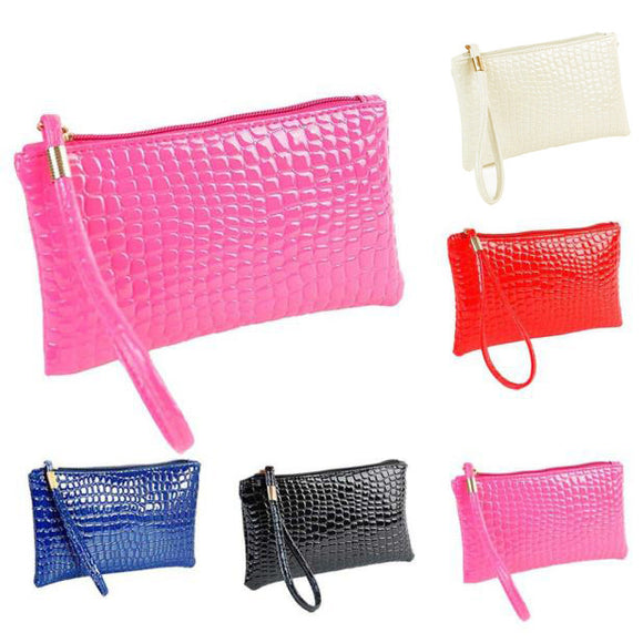 Women Crocodile Leather Clutch Handbag Bag Coin Purse