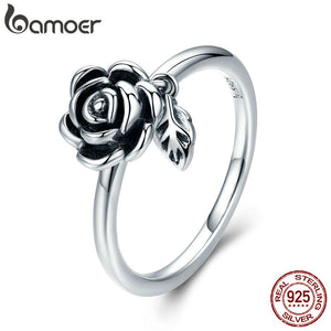 BAMOER 100% Real 925 Sterling Silver Romantic Rose Flower Leaves Female Finger Ring for Women Wedding Engagement Jewelry SCR274 - Free Wear USA
