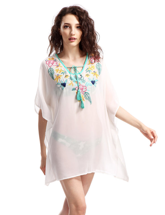 Avoir Aime Women's Boho Oversized Embroidered Chiffon T-Shirt Cover Up - Free Wear USA