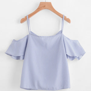 Women Summer Pinstripe Blouse Cold Shoulder Top - Free Wear USA