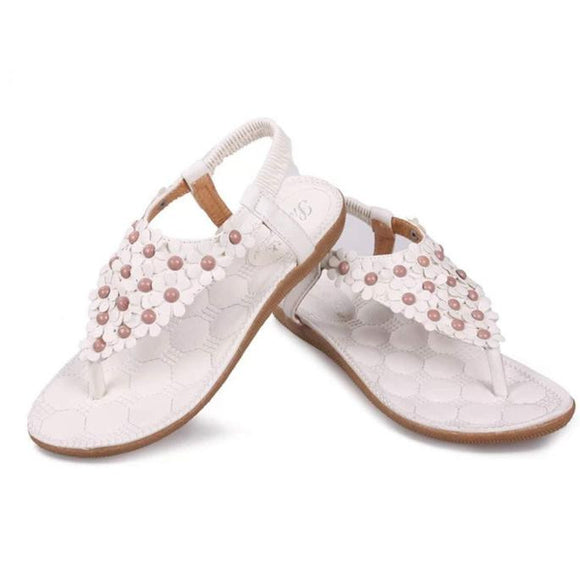 Summer Bohemia Sweet Beaded Sandals Clip Toe Sandals Beach Shoes - Free Wear USA