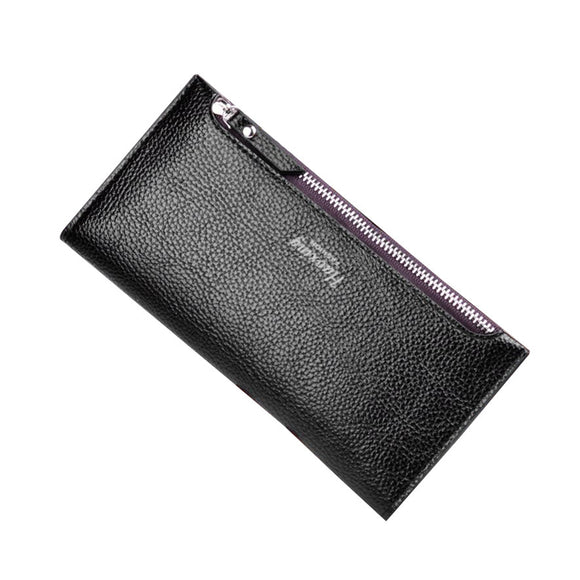 Ms. 2 fold thin fashion long solid color wallet