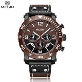 Megir Men's Watches Casual Luxury Luminous Watch Multiple Functions Genuine Leather Waterproof Chronograph Sport Watch For Men