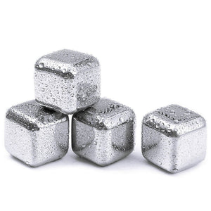 Reusable Stainless Steel Chilling Cube Stones Pack of 8/6/4 - Free Wear USA