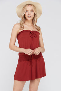 Women's Smock Strapless Dress with Elastic Waistband - Free Wear USA